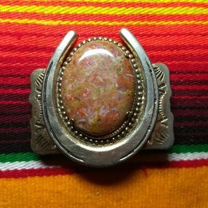 Vintage Accessories - Vintage Pawn Horseshoe Belt Buckle Huge Stone